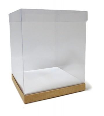 Caja tubo de PVC transparente con base de cartón