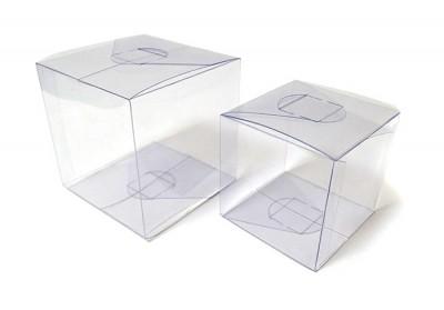Cajas cubo de PVC transparentes
